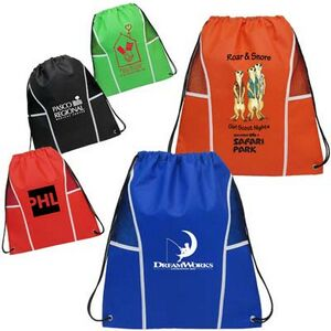 drawstring bag with mesh panel promo item
