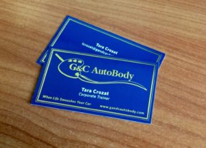 uv coated double sided foil business cards