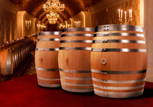 winery tasting room staging barrels