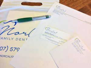 Custom printed stationery, business cards, and promotional products for Norcal Family Dental