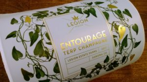 gold foil with green leaf terp champagne label