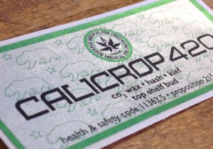 foil cannabis label green and silver